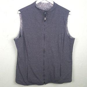 TRAVELSMITH Gray Patterned Reversible Vest